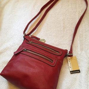 Red leather Strada crossbody bag